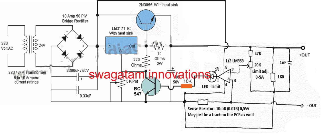 High current LM317 battery charger circuit with overload protection