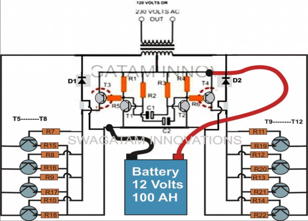 400wattinvertercircuit 1 how to make a simple 200 va, homemade power inverter circuit inverter schematic diagram at gsmportal.co