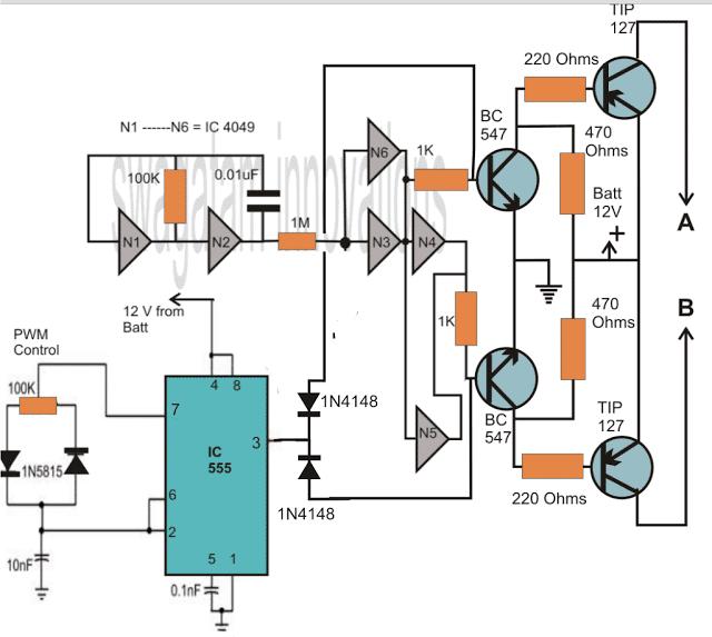 IC 4049 based modified sinewave inverter