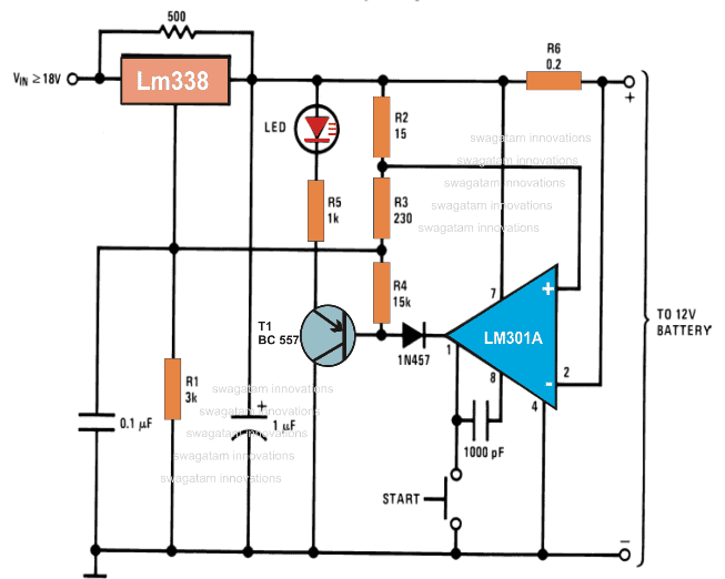 Compact 12 volt Battery Charger Circuit Using IC LM 338