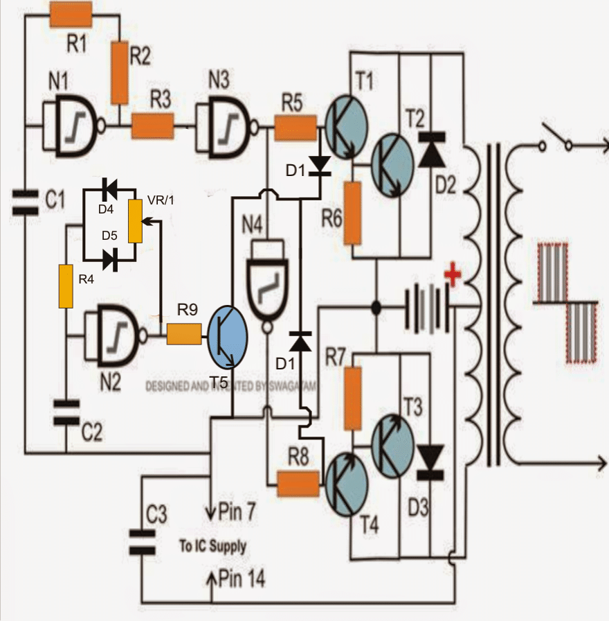 IC 4049 NAND gate based modified sinewave inverter circuit