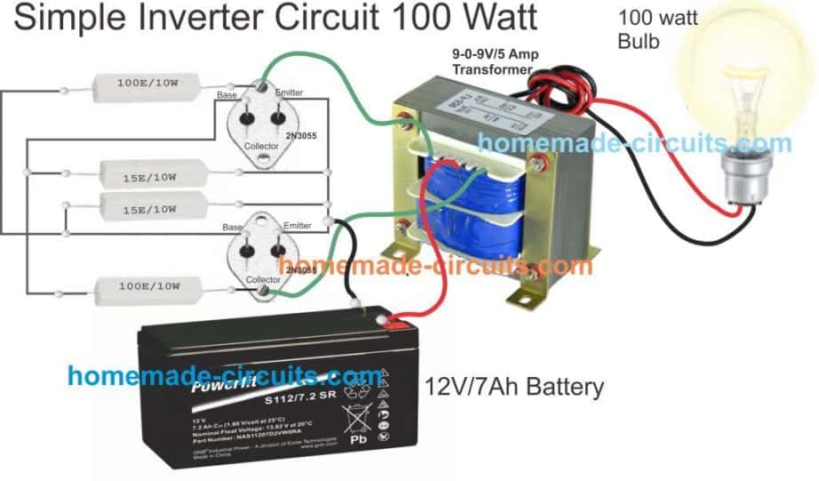 simple inverter circuit wiring layout 100 watt using 2N3055 BJTs