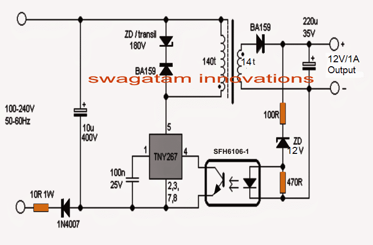 simple 12v  1 amp smps with pcb and transformer winding details