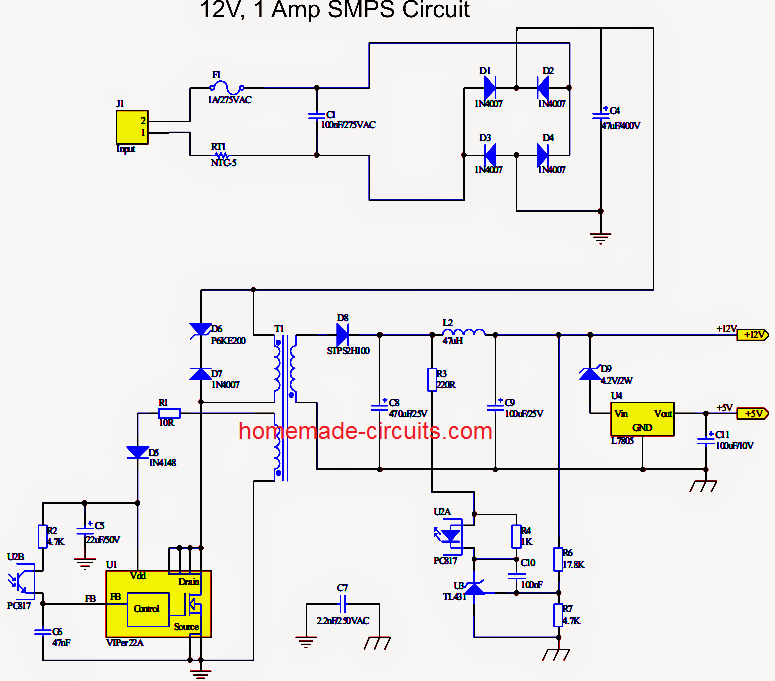 simple 12V 1 amp SMPS circuit