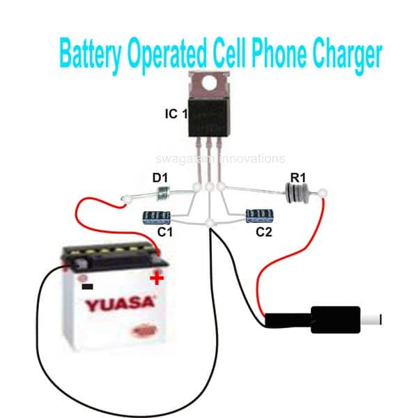 Wiring diagram for a 5V cell phone charger circuit