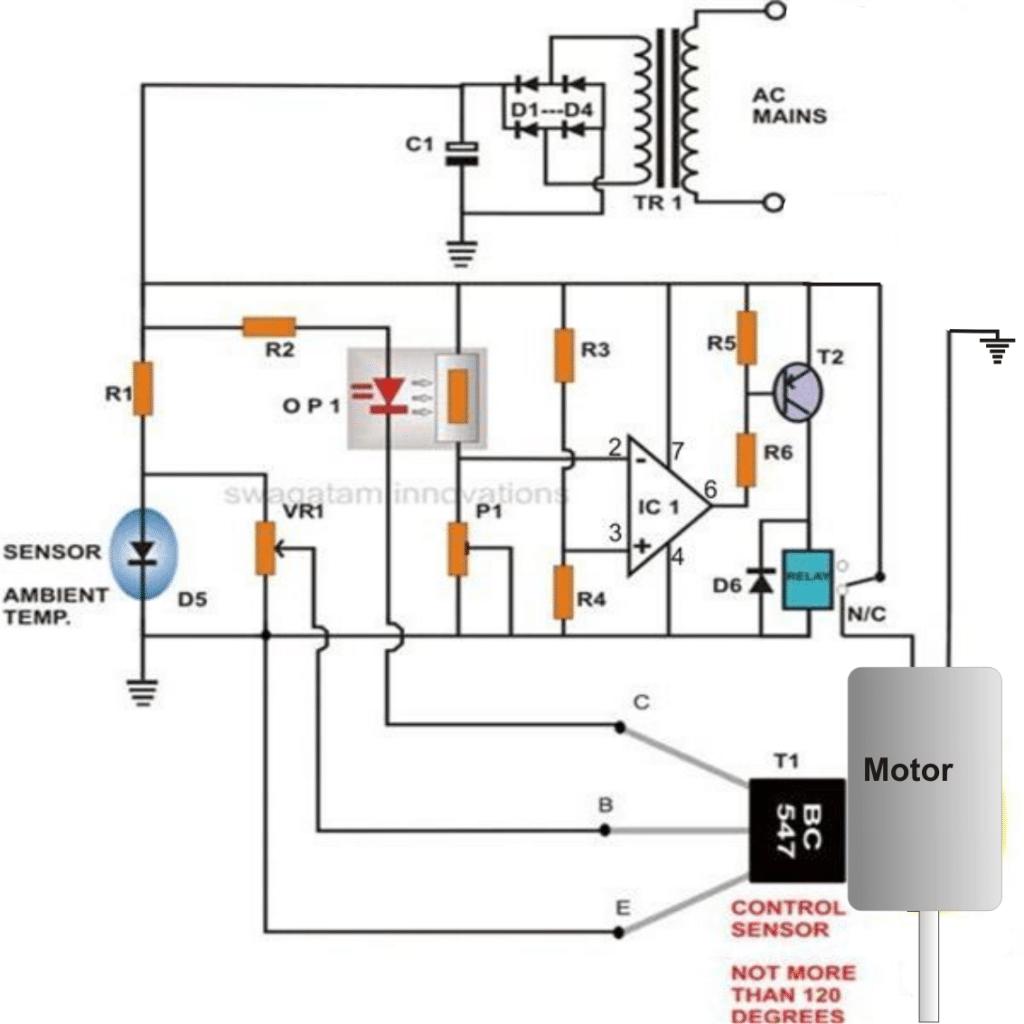 motor overheat protection using transistor as the sensor