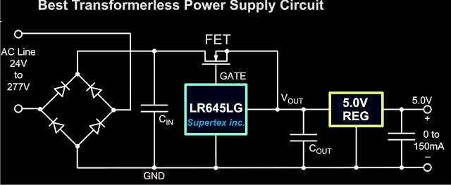IC LR645LG, which effectively reduces 220V to 15 volts at 3 mA.
