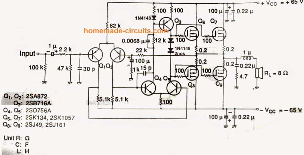 DIY 100 Watt MOSFET Amplifier Circuit | Homemade Circuit Projects