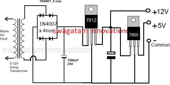 12, 5V regulated power supply circuit using IC 7812 and IC 7805
