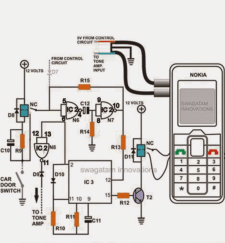 carsecuritycallbackcircuit 1 - Cell Phone Call Alert Security System Circuit