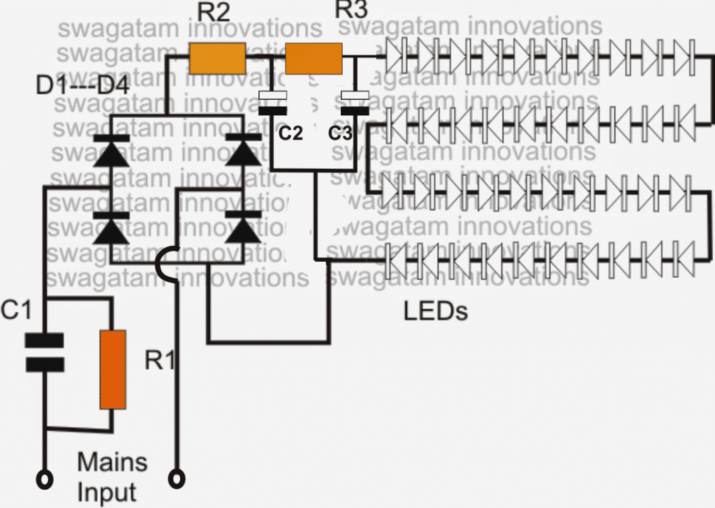 LED bulb circuit using transformerless power supply