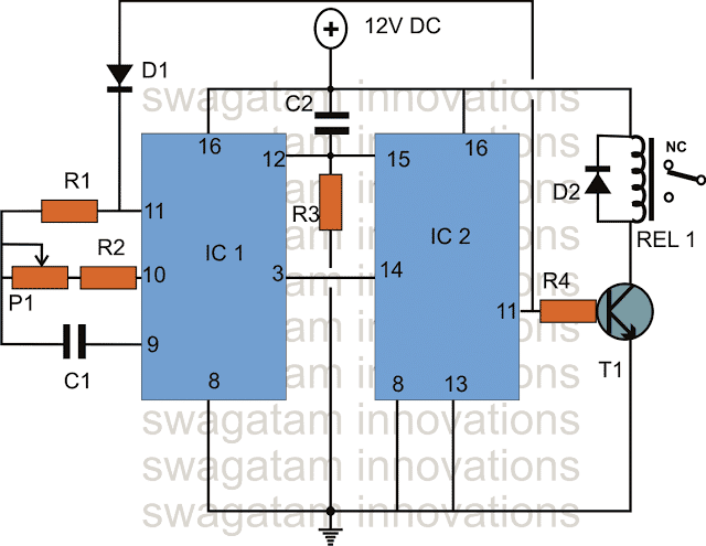 long duration timer using IC 4060 and IC 4017
