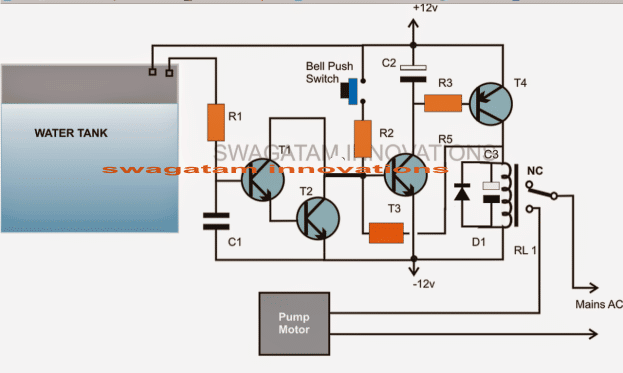 simple water level controller circuit 1 - Cheap Semi Automatic, Tank Water Over Flow Controller Circuit