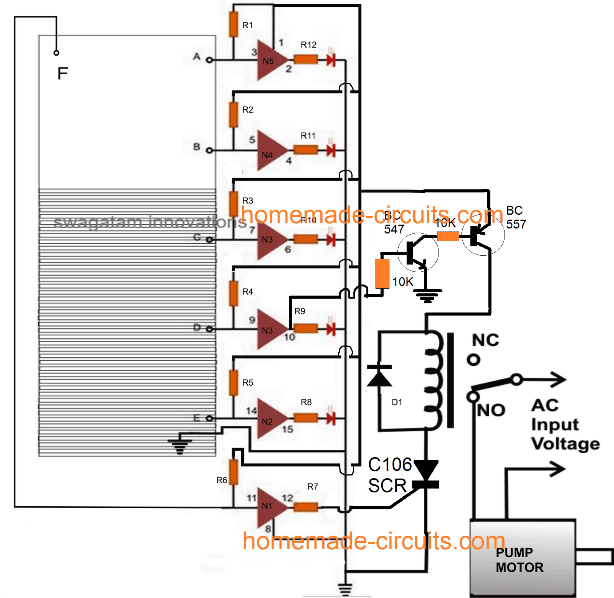 IC 4049 based water level controller circuit with overflow cut off