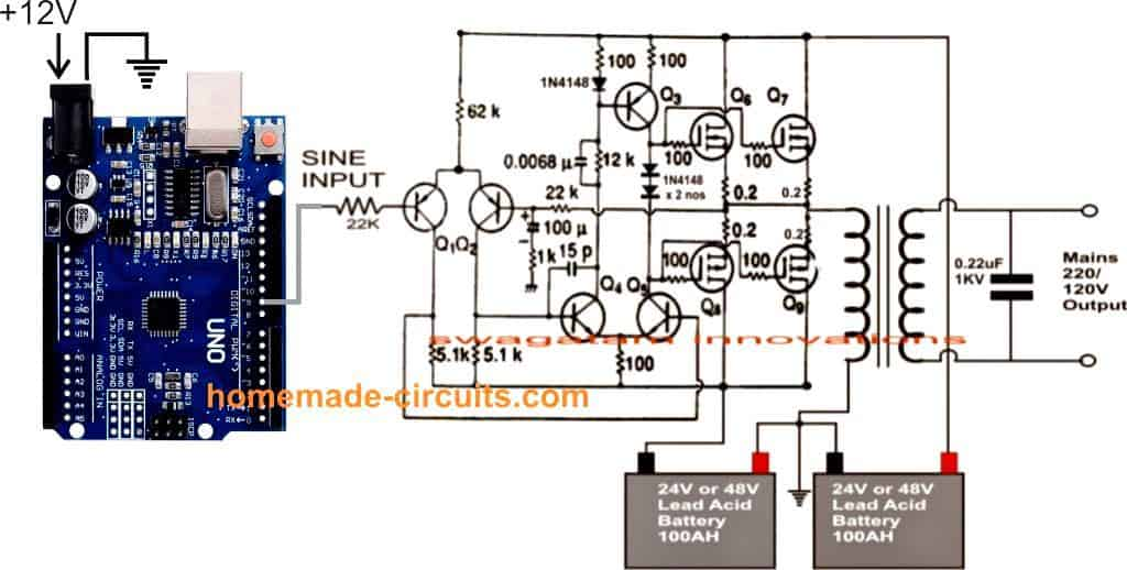 Sine wave 1 kva inverter using Arduino