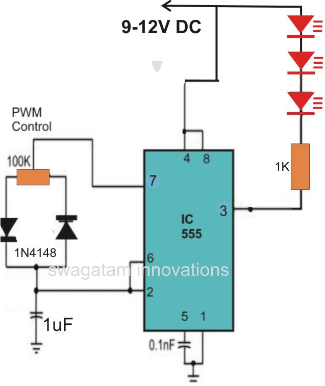 IC 555 strobe light circuit