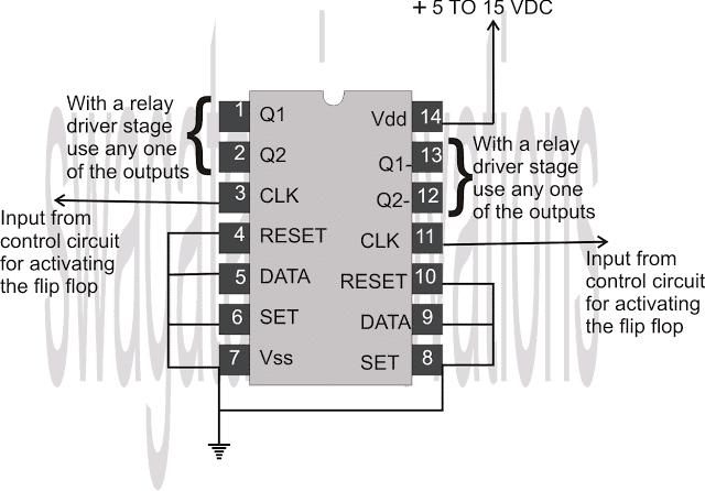 IC 4013 pinout connection diagram