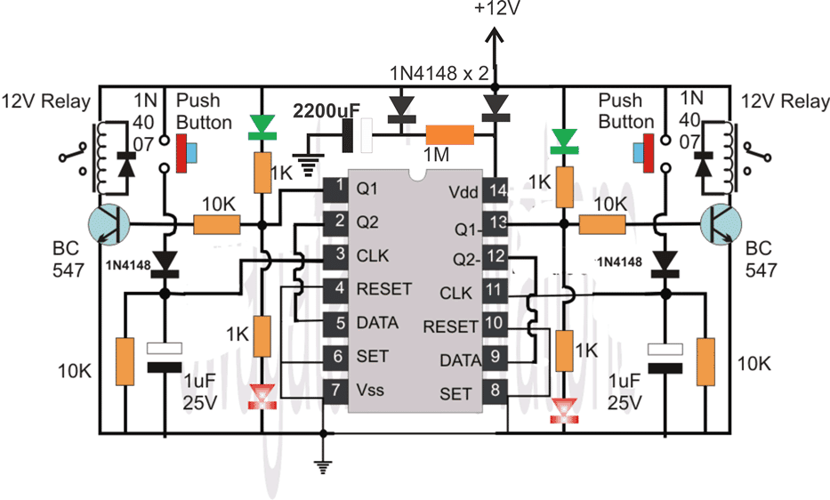 IC 4013 flip flop circuit with mains failure memory