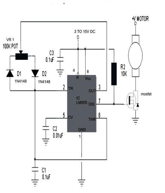 IC 555 potentiometer based DC motor speed controller