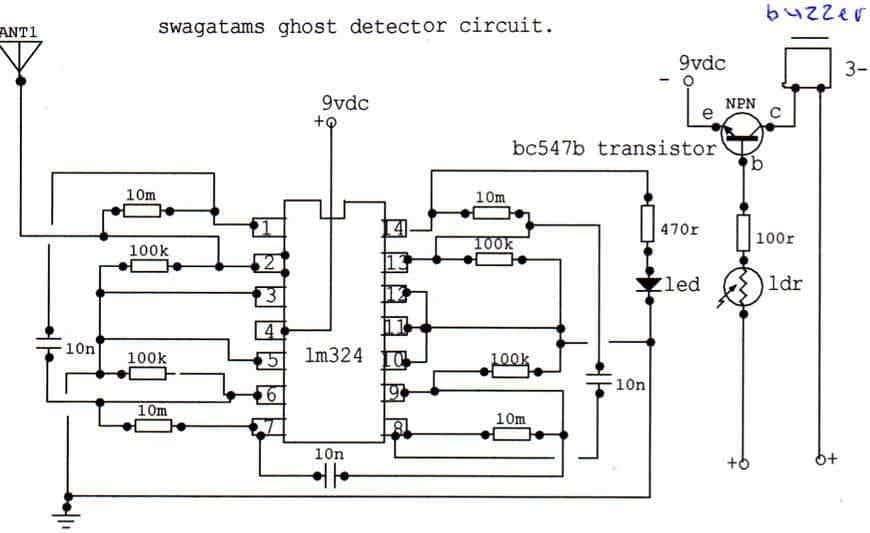 LM324 based ghost detector circuit diagram