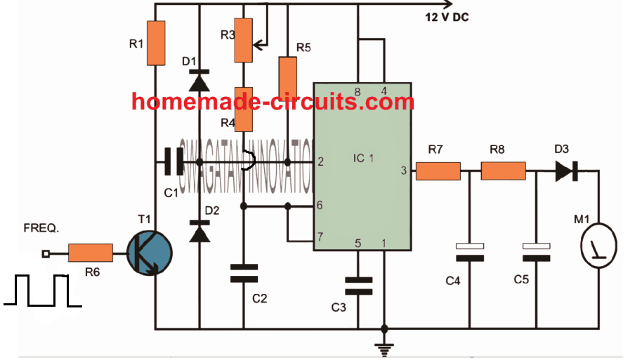 simple IC 555 tachometer circuit