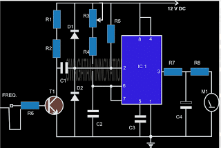 Tachometer Circuit on Simple 555 Timer Circuit Diagram