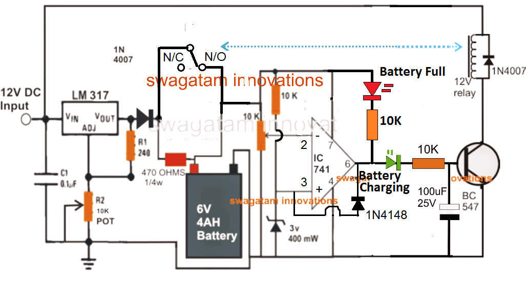 6V automatic charger circuit