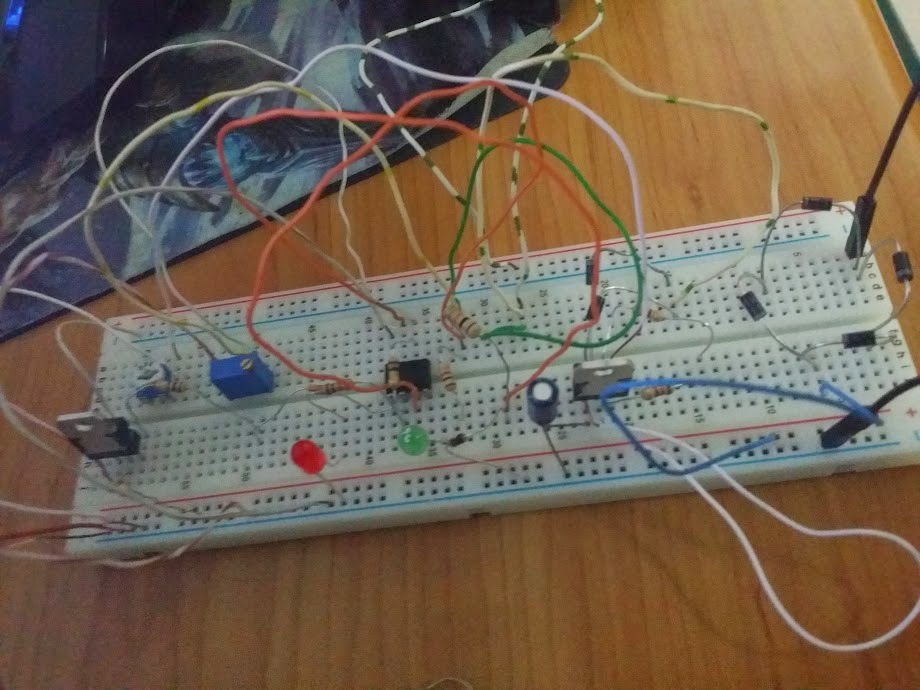 6V, 4ah battery charger prototype breadboard image