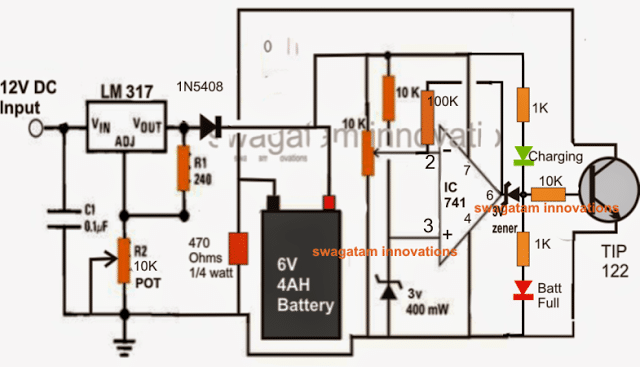5 Best 6V 4Ah Automatic Battery Charger Circuits Using Relay ... Accu Charger Schematic on