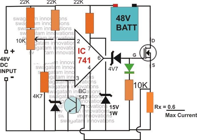 current controlled 48V battery charger circuit