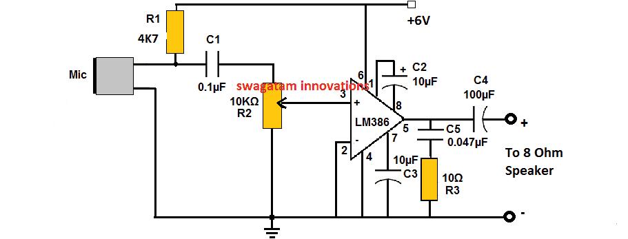 LM386 MIC amplifier circuit