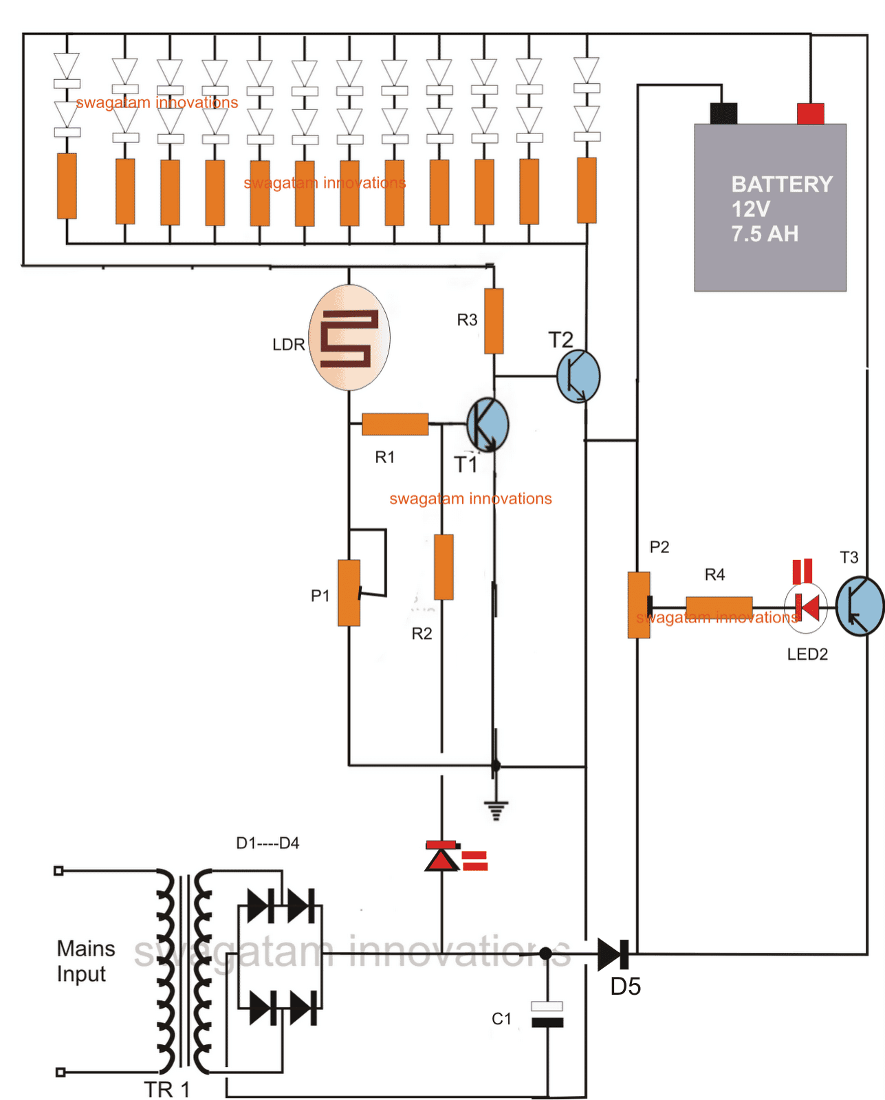 Solar Led Emergency Light Circuit Diagram: LED Emergency Light Circuit With  Battery Over Charge Protection