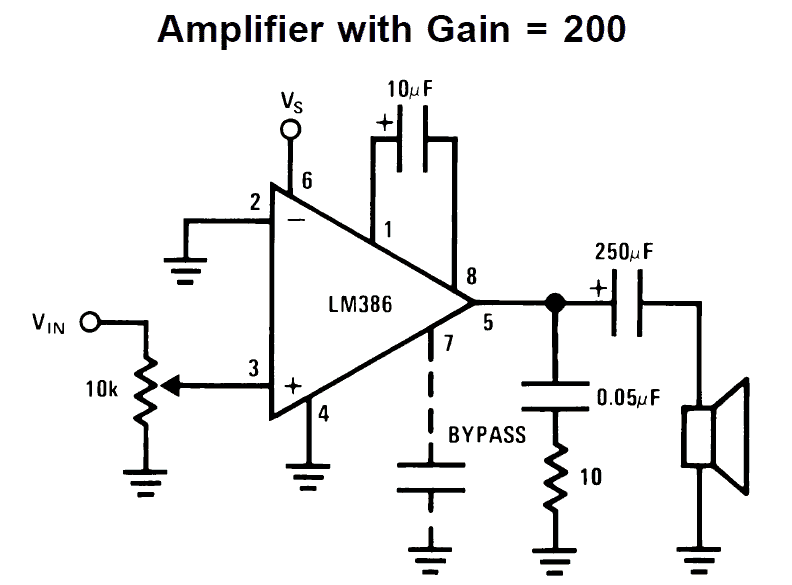 LM386 amplifier circuit with gain 200