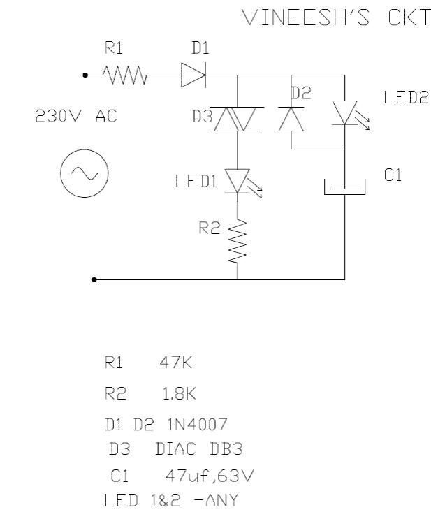 Triac diac led flasher circuit 220V