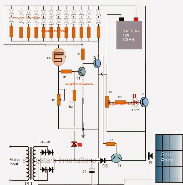 Battery Over Charge Protected Emergency Lamp Circuit