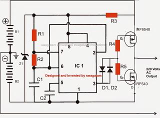 220v, 120v transformerless solar inverter circuit