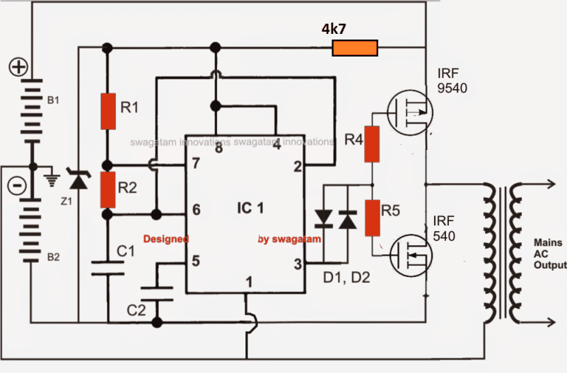 IC 555 full bridge inverter using 2 batteries