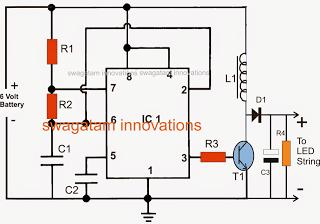 LED Emergency Light Using Boost Converter Circuit