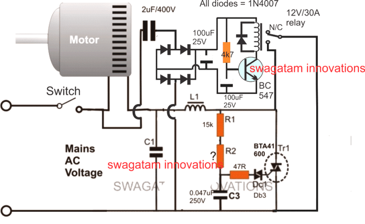 soft start for motors with relay and triac