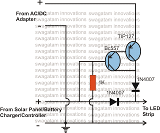 solar battery charger  ac  dc adapter changeover relay