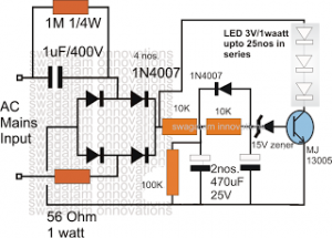Surge Protected Cheap Transformerless Hi-Watt LED Driver Circuit