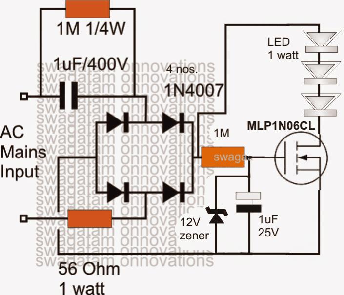 Surge Protected Cheap Transformerless Hi-Watt LED Driver Circuit