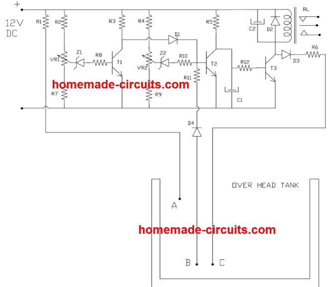 transistor automatic water level controller circuit