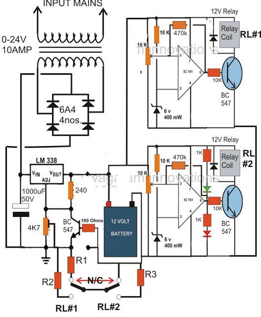 Step Automatic Battery Charger Circuit on Schematic Diagram Of Parallel Charging Lipo Batteries