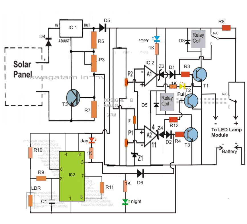 complete 40 watt LED street light circuit with charger, and darkness activated switch