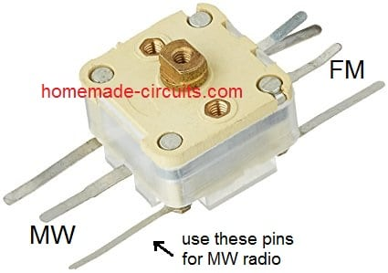 MW radio gang condenser variable capacitor