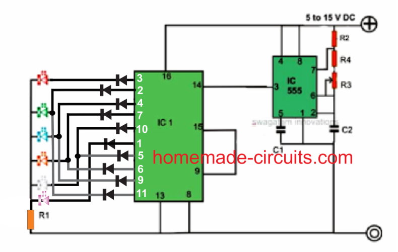 200 led reverse forward chaser circuit for diwali, christmasLedcircuitprojects The Circuit Diagram Of The Above Disco Light Is #18