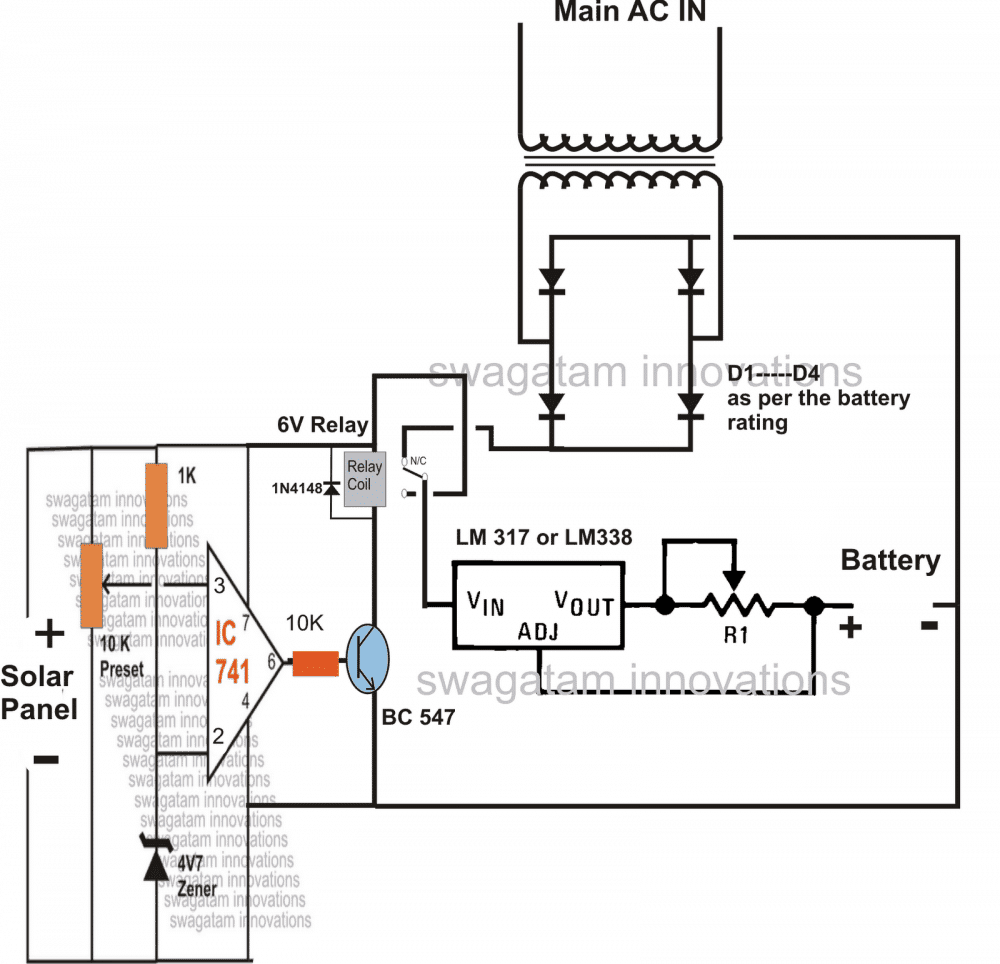 Solar Panel/AC Mains, Relay Changeover Circuit
