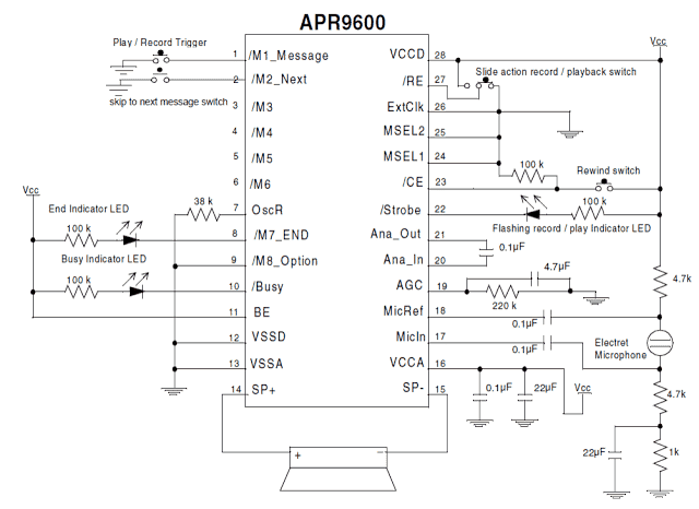 Single Chip Programmable Voice/Audio Recorder Circuit