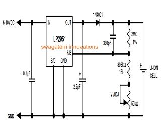 li ion charger circuit - Li-Ion Battery Charger Circuit Using IC LP2951